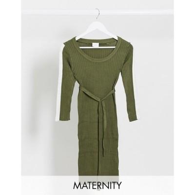 ママライシアス レディース ワンピース トップス Mamalicious stripe sleeve sweater dress in khaki