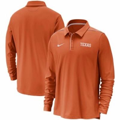 """ナイキ メンズ """"Texas Longhorns"""" Nike Team Issue Performance UV Long Sleeve Polo ポロシャツ 長袖 Texas Orange"""