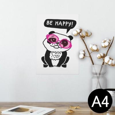 ポスター ウォールステッカー シール式 210×297mm A4 写真 壁 インテリア おしゃれ wall sticker poster パンダ 動物 サングラス 010973