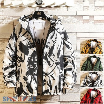 ウィンドブレーカー 中綿 メンズ 大きいサイズ 柄物 中綿ジャケット フード付き ジャケット
