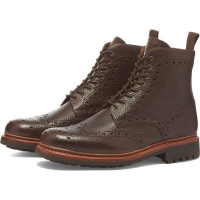 グレンソン Grenson メンズ ブーツ メダリオン シューズ・靴 Fred Brogue Boot Dark Brown Natural Grain
