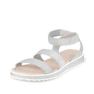 The Children's Place Girls Glitter Strap Sandals Slipper, Silver, 13 Big Ki
