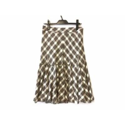 エポカ EPOCA スカート サイズ40 M レディース 美品 ベージュ×グリーン×レッド チェック柄【中古】20200610