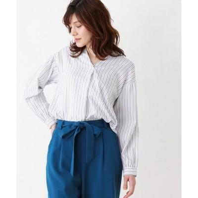 シャツ ブラウス 【防シワ】プルオーバーストライプシャツ