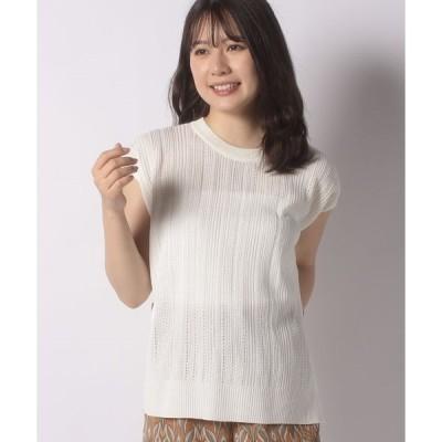 【テチチ】【Techichi】麻タッチ透かし編みサイド釦プルオーバー