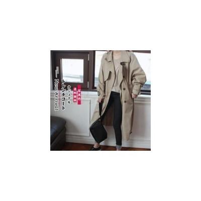 レディーストレンチコートダブルボタンロングコートゆったり長袖ベルト付ききれいめカジュアルビジネス春秋アウター