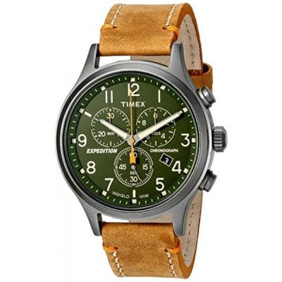 タイメックス 腕時計 メンズウォッチ Timex Men's Expedition Scout Chronograph Leather Strap Watch