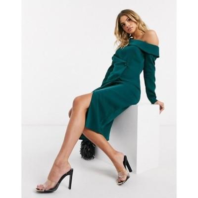 ラビッシュアリス レディース ワンピース トップス Lavish Alice asymmetric blazer midi dress in emerald green