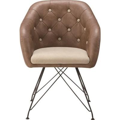 パーソナルチェア スチール/ソフトレザー/麻 肘掛け KGI108BR ブラウン | 椅子