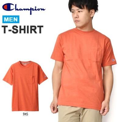 30%OFF 胸ポケット付き 半袖 Tシャツ チャンピオン Champion メンズ ワンポイント ロゴ 速乾 レッド 赤 C3-RS306