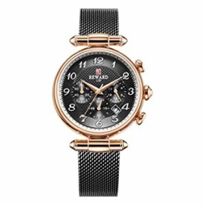 REWARD Japanese Quartz Women Wrist Watch with Calendar,Waterproof,Stainless,Fashion Design for Female (Black)