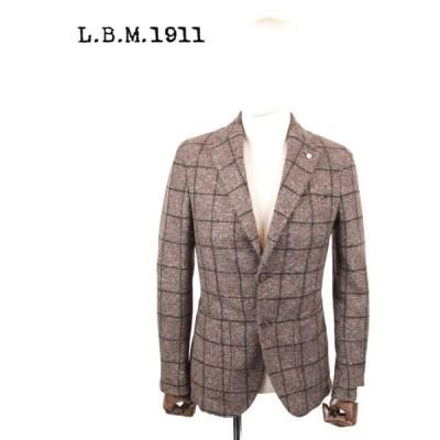 L.B.M.1911 エルビーエム1911 ウール 2Bシングルジャケット チェック柄 9201A28655247 茶系 ブラウン LBM 1911 国内正規品