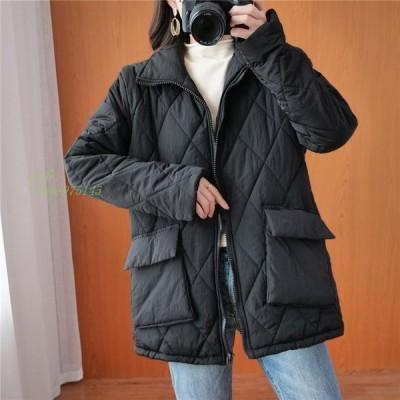 レディース 中綿コート キルティングジャケット 綿入れ 女子アウター 軽量 オーバーサイズ ミディアム ショート