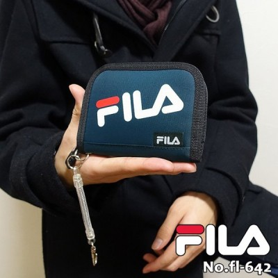 FILA フィラ 財布 刺繍ロゴ入り 布製 コイルストラップ付き 折り財布 メンズ 中学生 高校生 ウォレット fl-642