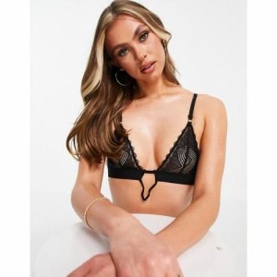 エイソス ASOS DESIGN レディース ブラジャーのみ インナー・下着 Maeve geo lace soft bra with v wire in black ブラック