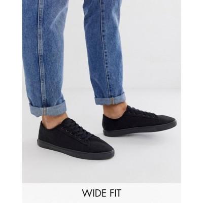 エイソス メンズ スニーカー シューズ ASOS DESIGN Wide Fit sneakers in black canvas