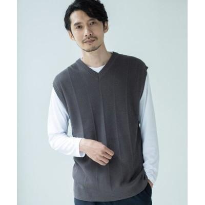 THE SHOP TK/ザ ショップ ティーケー ニットアンサンブルクルーネックTシャツ チャコールグレー(014) 01(S)