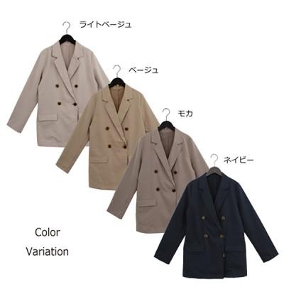 ツイルダブルブレストジャケット(ライトベージュ×M)
