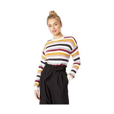 cupcakes and cashmere Women's Rach Multi Stripe Crew Neck Sweater, Ivory, S