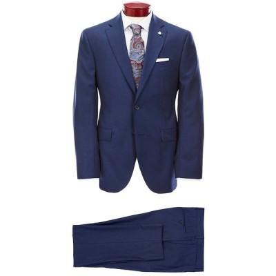 クレミュ メンズ ジャケット&ブルゾン アウター Modern Fit Blue Neat Wool Suit Navy