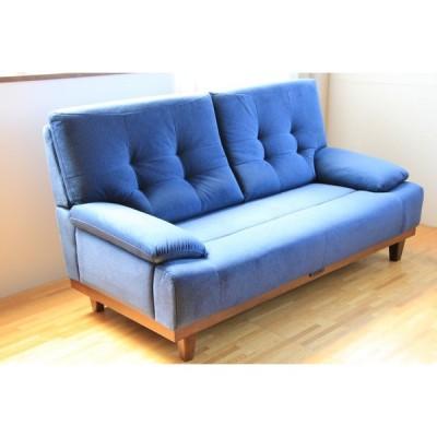 ソファー 布張りソファー 3人掛け 椅子 チェアー 撥水 ブルー コンセント2口 北欧モダン インテリア クラーナ