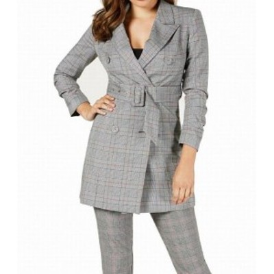 GUESS ゲス ファッション 衣類 Guess Womens Gray Size Small S Plaid Belted Double Breasted Jacket