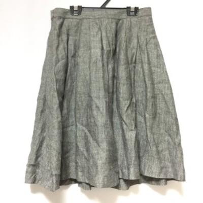 マーガレットハウエル MargaretHowell スカート サイズ2 M レディース - 白×黒 ひざ丈【中古】20210326