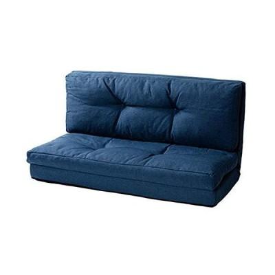 アイリスプラザ ソファ ベッド 座椅子 3WAY 折り畳み 2人掛け ネイビー リクライニング 幅約120cm クッション付き