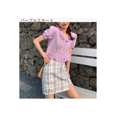 【送料無料】夏 韓国風 フリルシャツ グリッドスカート ファッション   346770_A62786-9378755
