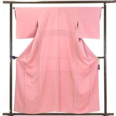 リサイクル着物 色無地 正絹ピンク地袷色無地未使用品