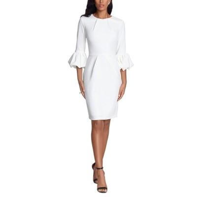 ベッツィ アンド アダム ワンピース トップス レディース Bell-Sleeve Crepe Dress White