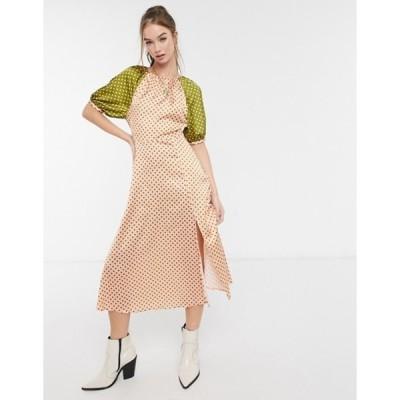 エイソス レディース ワンピース トップス ASOS DESIGN satin midi tea dress in mixed polkadot