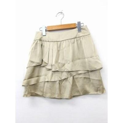 【中古】ガリャルダガランテ GALLARDAGALANTE スカート ティアードスカート ミニ ジップ 無地 シンプル 36 ゴールド