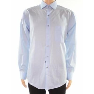 Alfani  ファッション ドレス Alfani Mens Blue Size Large L Regular Fit Performance Dress Shirt