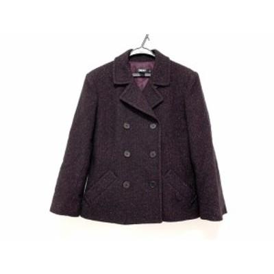 ダナキャラン DKNY Pコート サイズ14 XL レディース 美品 - 黒×ボルドー 長袖/ラメ/冬【中古】20200724
