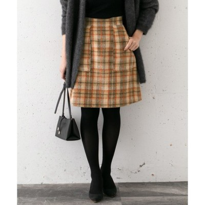 スカート シャギーチェックスカート