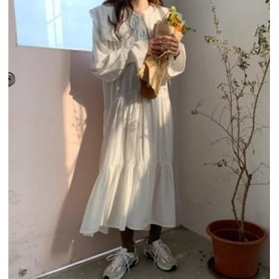 韓国 ファッション ワンピース シフォン ロング丈 襟付き レース リボン 大きいサイズ 長袖 フレア ゆったり 無地 大人可愛い カジュアル