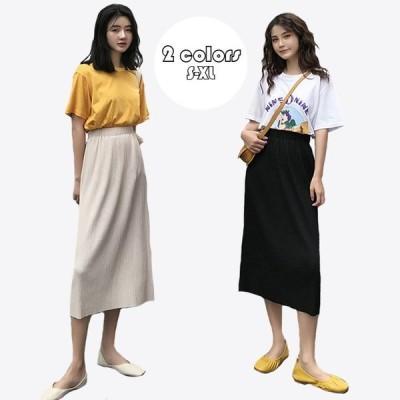 スカート レディース 春夏 ロングスカート 純色 マキシスカート ウエストゴム フレアスカート ハイウエストスカート 韓国風 着痩せ 大人気 2020新作 2色