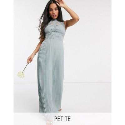 ティーエフエヌシー ミディドレス レディース TFNC Petite bridesmaid lace back maxi dress in sage エイソス ASOS