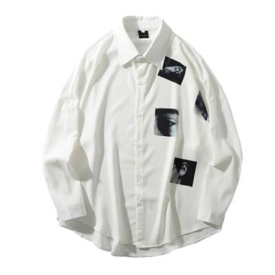 アロハシャツ メンズ 春 夏 秋 カジュアル 長袖 前開き 襟付き 大きいサイズ ゆったり オシャレ 派手 シャツ ワイド 開襟シャツ M