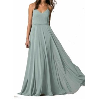Jenny Yoo ジェニーヨー ファッション ドレス Jenny Yoo NEW Green Womens Size 18 V-Neck Chiffon Sheath Dress