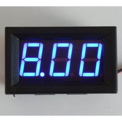 パネル取り付け枠付きデジタル電圧計 青 5.5〜30V 【簡単2線式】