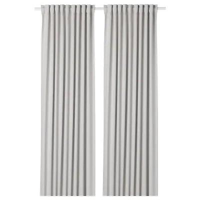 IKEA イケア カーテン 1組 145x250cm ライトグレー n10346751 MAJGULL