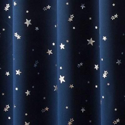 カーテン 1級遮光 断熱 箔プリント 星柄 プラネット ネイビーブルー 幅100cm丈230cm 2枚入 8サイズネイビーブルー幅100cm×丈230cm 2枚入