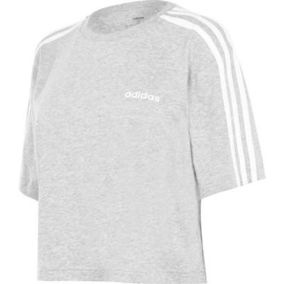 アディダス adidas レディース フィットネス・トレーニング Tシャツ トップス 3S Crop T Shirt Med Grey