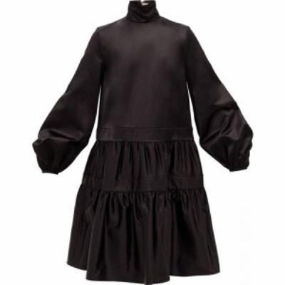 ロシャス Rochas レディース ワンピース ワンピース・ドレス Balloon-sleeve gathered duchess-satin dress Black