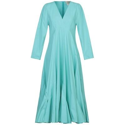 エリカ カヴァリーニ ERIKA CAVALLINI 7分丈ワンピース・ドレス ターコイズブルー 40 コットン 100% 7分丈ワンピース・ドレス