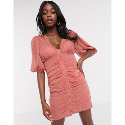 エイソス レディース ワンピース トップス ASOS DESIGN button through dobby mini dress with puff sleeve in terracotta