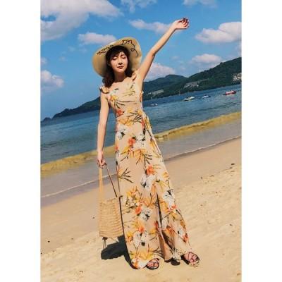 春夏 ドレス ロングドレス ワンピース 花柄 ノースリーブ スリット カジュアル リゾート パーティ