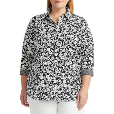 チャップス カットソー トップス レディース Plus Size No Iron 3/4 Sleeve Button Down Shirt  -